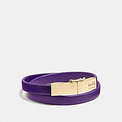 COACH F90316 Leather Double Wrap Coach Plaque Bracelet LIGHTGOLD/VIOLET