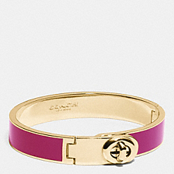 COACH F90325 C.o.a.c.h. Enamel Turnlock Hinged Bangle GOLD/FUCHSIA