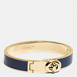COACH F90325 C.o.a.c.h. Enamel Turnlock Hinged Bangle GOLD/NAVY