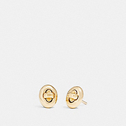 COACH TURNLOCK STUD EARRINGS - GOLD - F90329