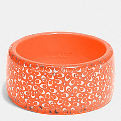 COACH F90341 - C.O.A.C.H. WIDE RESIN BANGLE SILVER/NEON ORANGE