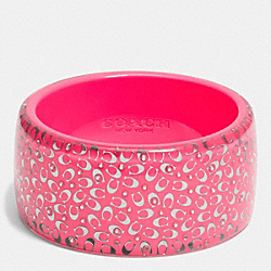 COACH F90341 - C.O.A.C.H. WIDE RESIN BANGLE SILVER/NEON PINK