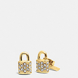COACH F90343 - PAVE PADLOCK STUD EARRINGS  GOLD