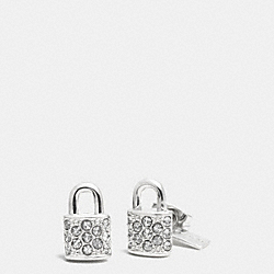 COACH F90343 Pave Padlock Stud Earrings SILVER