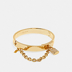 PAVE PADLOCK CHAIN HINGED BANGLE - f90363 - GOLD