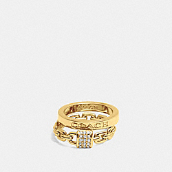 COACH F90376 - PAVE PADLOCK COACH RING SET GOLD