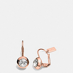 COACH F90378 - ROUND STONE DROP EARRINGS  ROSEGOLD/CLEAR