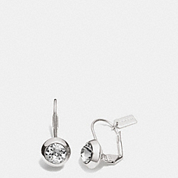 COACH F90378 - ROUND STONE DROP EARRINGS  SILVER/BLACK