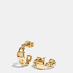 COACH F90389 Padlock Huggie Earrings GOLD
