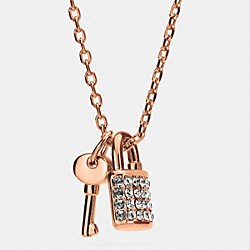 COACH F90404 - LOCK AND KEY PAVE PADLOCK NECKLACE ROSEGOLD