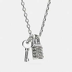 LOCK AND KEY PAVE PADLOCK NECKLACE - f90404 - SILVER