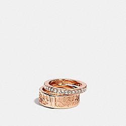COACH F90407 Pave Tossed C Ring Set ROSEGOLD/CLEAR
