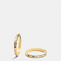 COACH F90408 Hangtag Hoop Earrings GOLD/CLEAR
