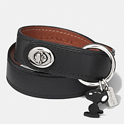 COACH F90409 - COACH X PEANUTS LEATHER TURNLOCK BRACELET SILVER/BLACK