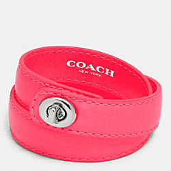 COACH F90449 - C.O.A.C.H. DOUBLE WRAP TURNLOCK BRACELET SILVER/NEON PINK