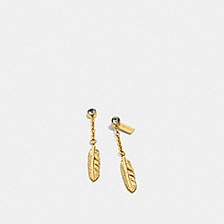COACH F90460 - PAVE METAL FEATHER DROP EARRINGS  GOLD/BLACK
