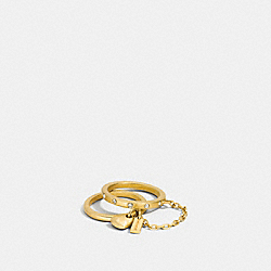 COACH F90462 Pave Double Finger Chain Sculpted Heart Ring GOLD