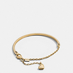 PAVE SCULPTED HEART CHARM BRACELET - f90465 - GOLD
