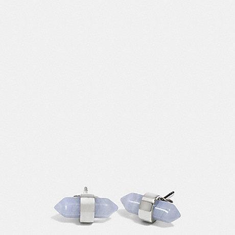 COACH AMULET STUD EARRINGS - SILVER/PALE BLUE - f90478