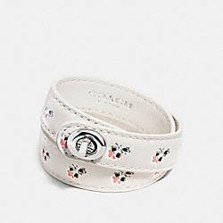 PRINTED DOUBLE WRAP TURNLOCK BRACELET - f90479 - SILVER/BRAMBLE ROSE