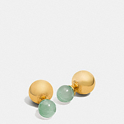 COACH F90490 - DOUBLE SPHERES STONE EARRINGS GOLD/PALE GREEN