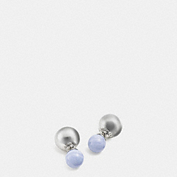 DOUBLE SPHERES STONE EARRINGS - f90490 - SILVER/PALE BLUE