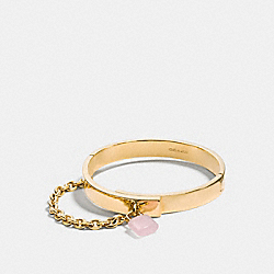 COACH F90502 Padlock Chain Hinged Bangle GOLD/PETAL PINK