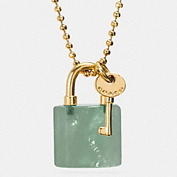 COACH F90513 - LOCK AND KEY NECKLACE  GOLD/PALE GREEN