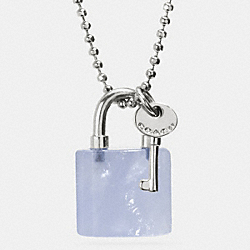 COACH F90513 Lock And Key Necklace SILVER/PALE BLUE