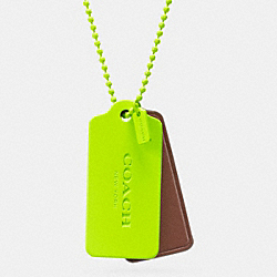 COACH F90550 C.o.a.c.h. Novelty Hangtag Necklace GLO LIME/SADDLE GLO LIME