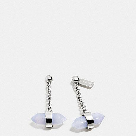 COACH AMULET DROP EARRINGS - SILVER/PALE BLUE - f90556