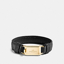 COACH F90590 Leather Horse And Carriage Id Bracelet GOLD/BLACK