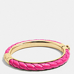 COACH F90599 Braided Leather Hinged Bangle GDBAJ