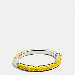 COACH F90599 - BRAIDED LEATHER HINGED BANGLE SILVER/YELLOW