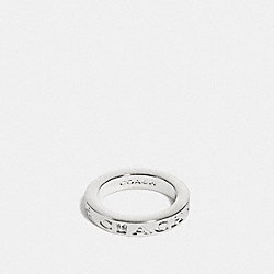 COACH PAVE METAL RING - f90600 - SILVER/CLEAR