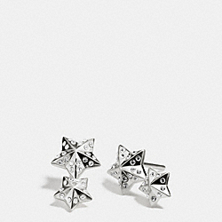 STERLING PAVE DOUBLE STARS STUD EARRING - f90606 - SILVER/CLEAR