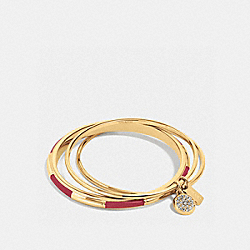 COACH F90662 - COACH PLAQUE BANGLE SET GOLD/BLACK CHERRY