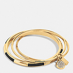 COACH F90662 Coach Plaque Bangle Set GOLD/BLACK