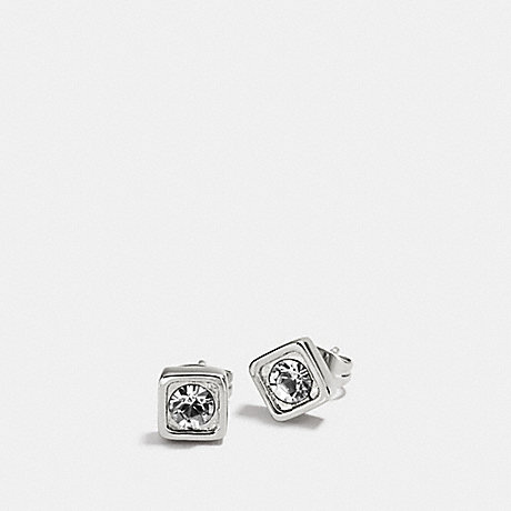 COACH COACH PAVE SQUARE STUD EARRINGS - SILVER/CLEAR - f90665