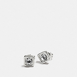 COACH PAVE SQUARE STUD EARRINGS - SILVER/CLEAR - COACH F90665