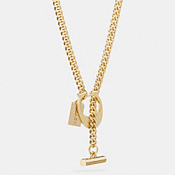 COACH F90677 Boxed Signature C Toggle Necklace GOLD/GOLD