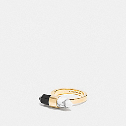 COACH F90682 Two Tone Amulet Ring GOLD/BLACK/ CHALK