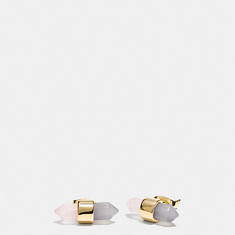COACH TWO TONE AMULET STUD EARRINGS - GOLD/STONE/ BLUSH - f90685
