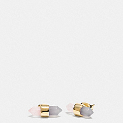 TWO TONE AMULET STUD EARRINGS - f90685 - GOLD/STONE/ BLUSH
