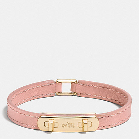 COACH LEATHER SWAGGER BRACELET - GOLD/BLUSH - f90702