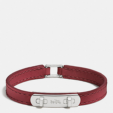COACH LEATHER SWAGGER BRACELET - SILVER/BLACK CHERRY - f90702