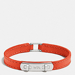LEATHER SWAGGER BRACELET - f90702 - SILVER/ORANGE