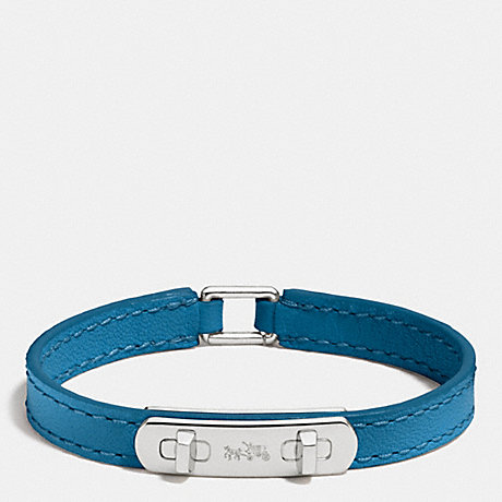 COACH LEATHER SWAGGER BRACELET - SILVER/PEACOCK - f90702
