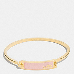 COACH F90705 Thin Enamel Plaque Tension Bangle GOLD/BLUSH