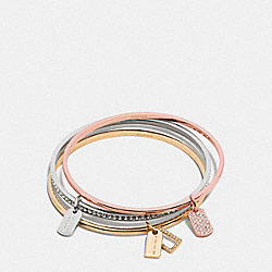 PAVE MIXED TAGS BANGLE SET - f90736 - MULTICOLOR